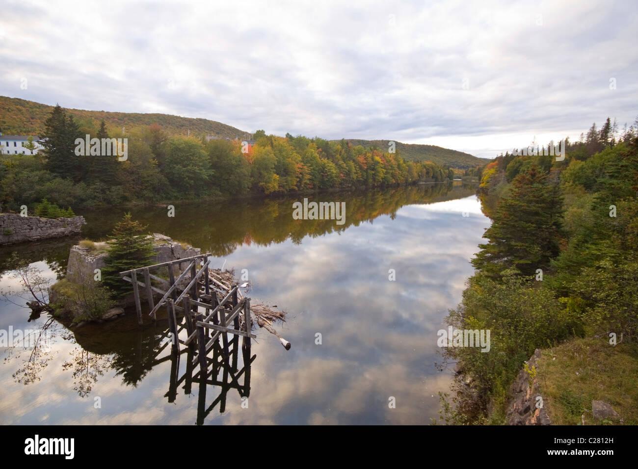 Middle River autumn reflections, near Nyanza, Cape Breton, Nova Scotia - Stock Image