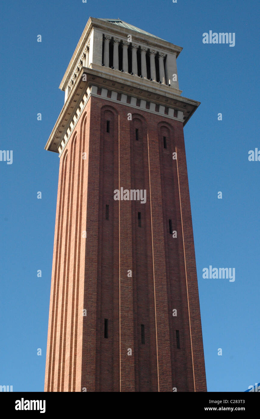 roman tower in Barcelona.Spain,Europe - Stock Image