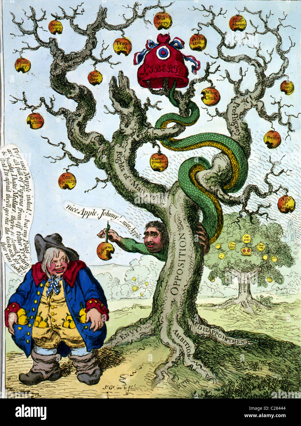 The tree of liberty with the devil tempting John Bull. - Stock Image