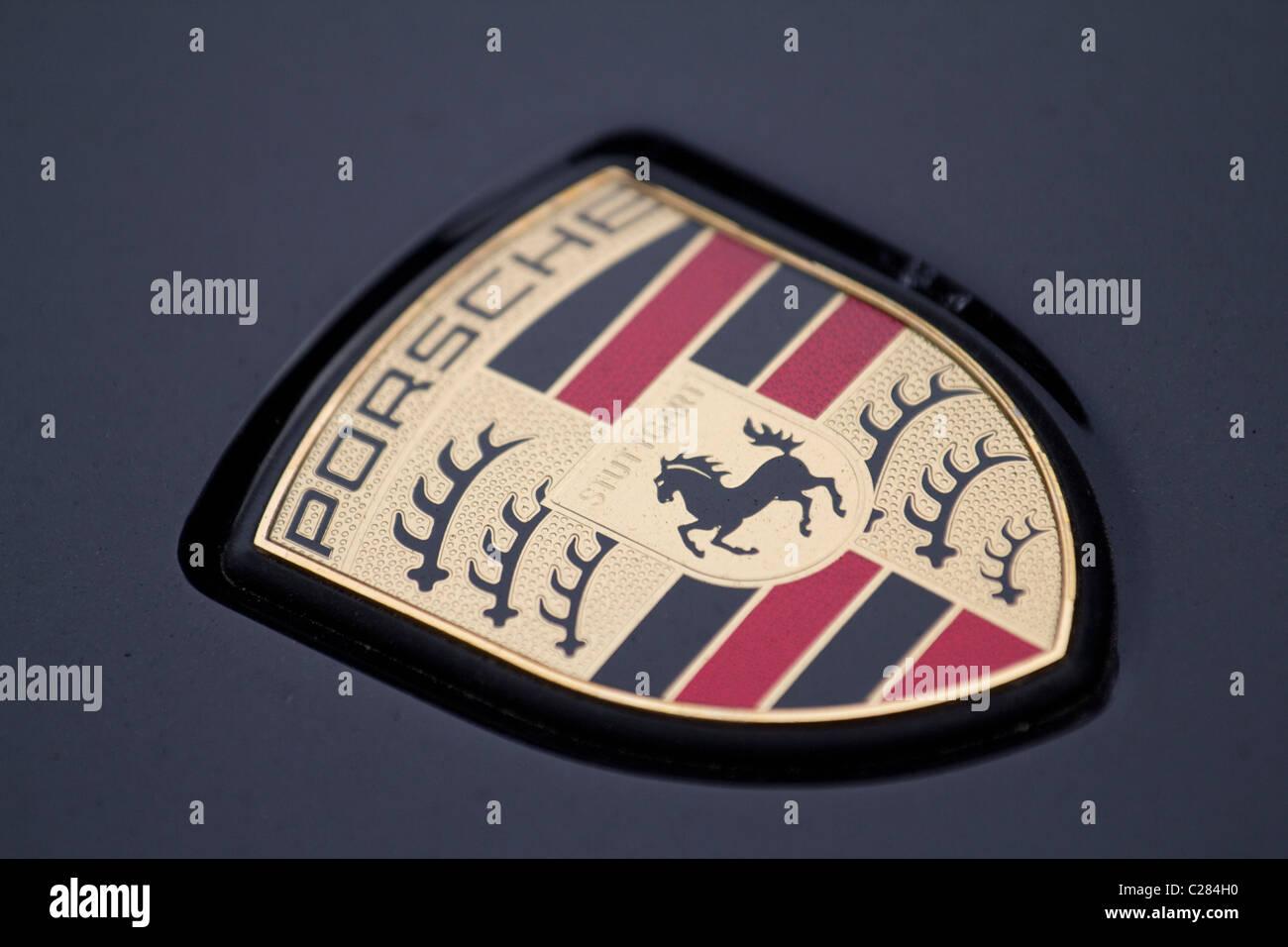 porsche, badge, - Stock Image