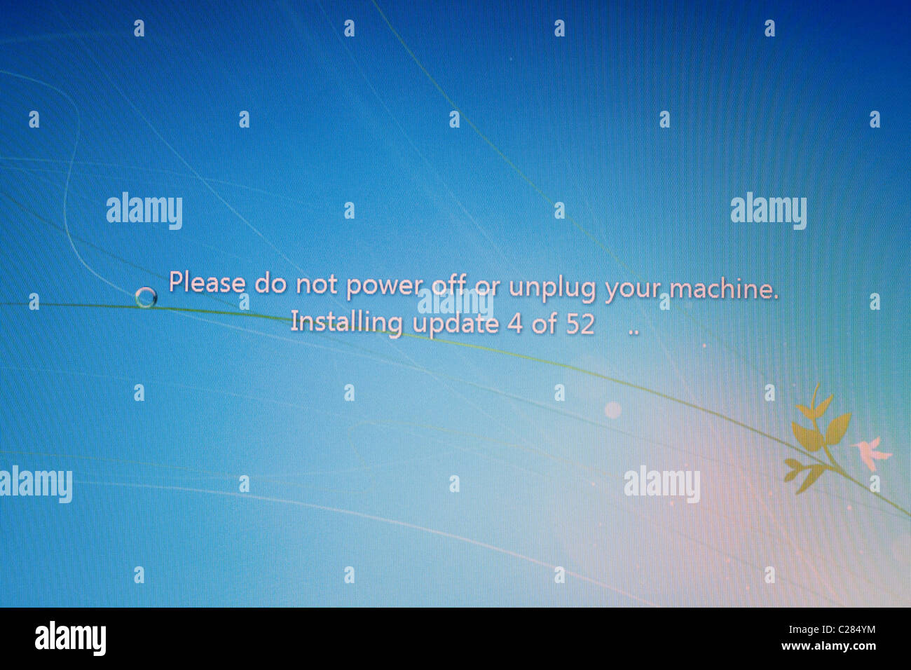 Windows 7 Install screen on a PC monitor screen England UK - Stock Image
