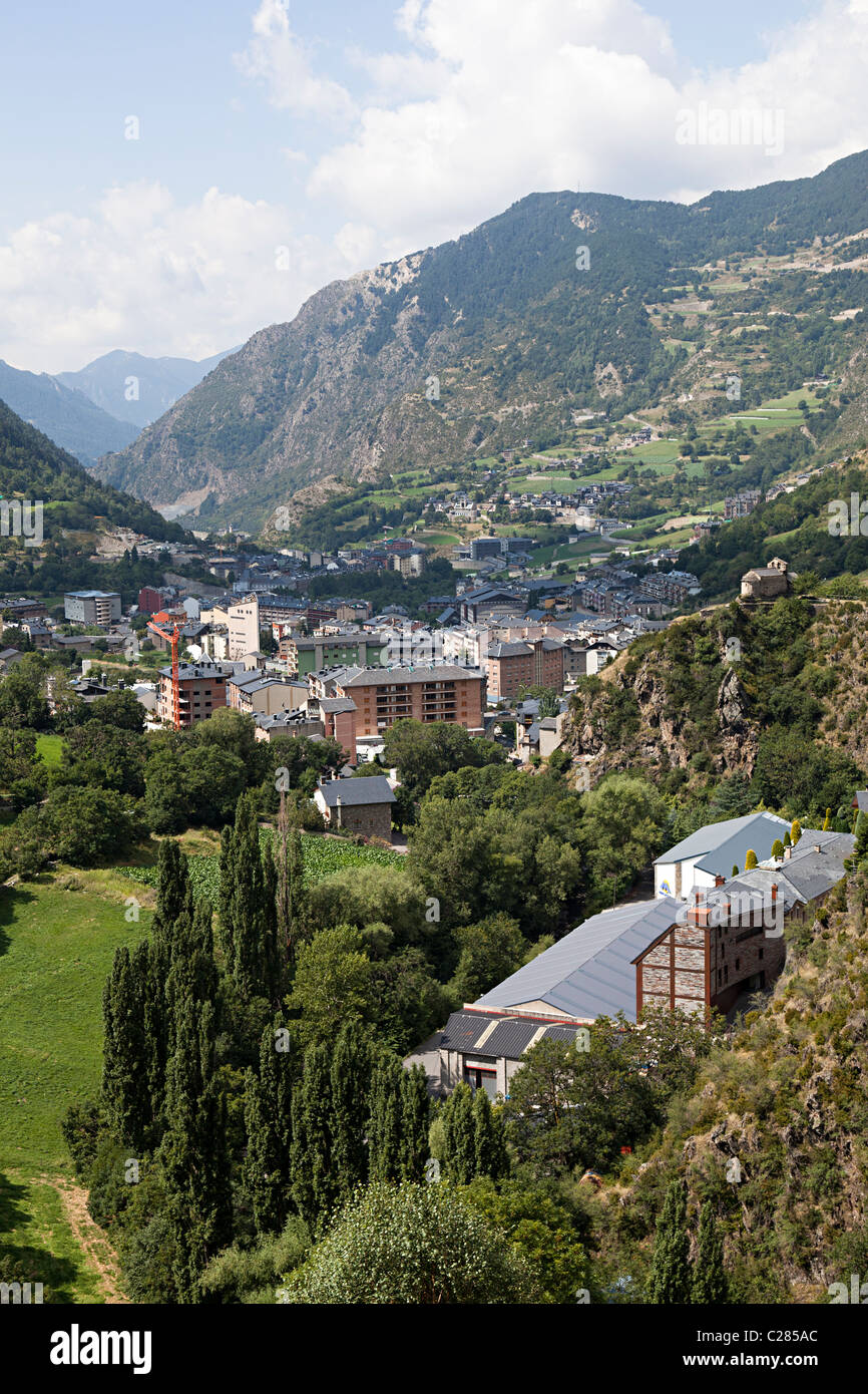 Town of Encamp in valley Andorra - Stock Image