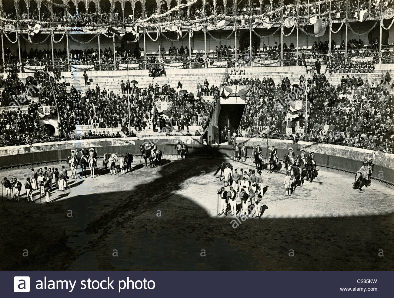 A view of the opening ceremonies at the Campo Pequeno bullring. - Stock Image