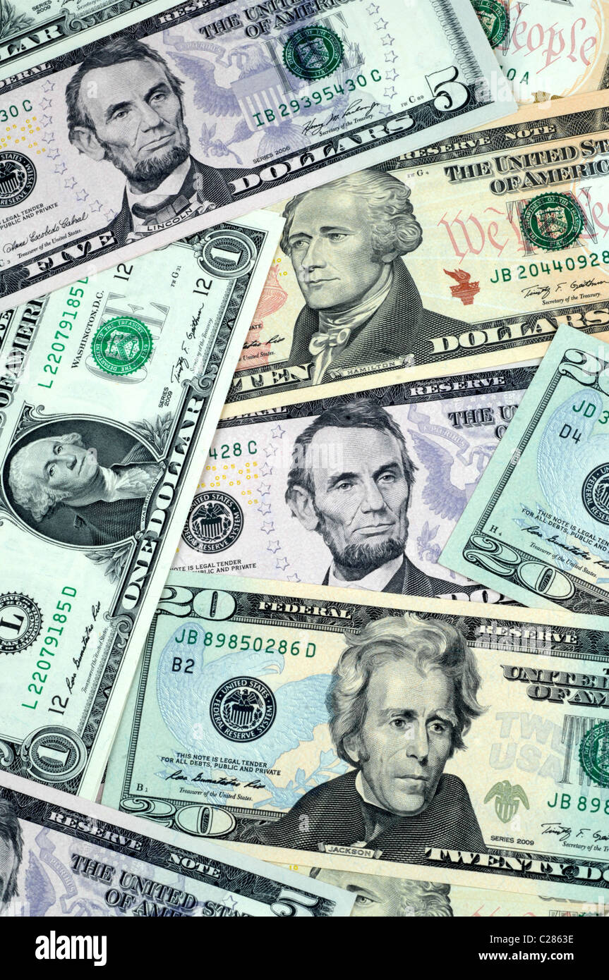 Dollar, dollars, money, American banknotes - Stock Image