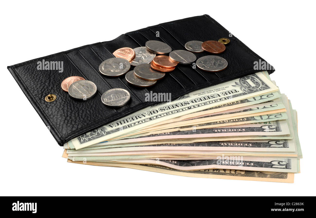 Dollar, dollars, money, American banknotes and coins in a wallet - Stock Image