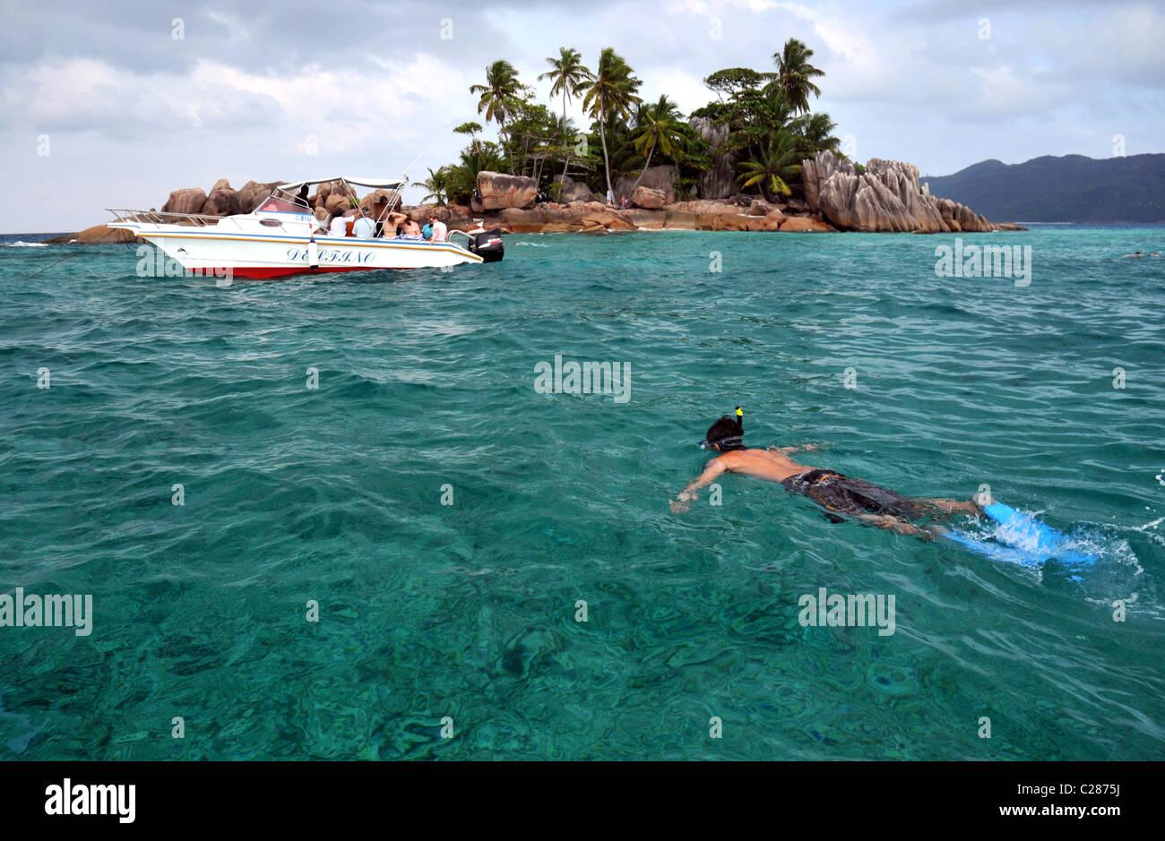 Snorkeling St Pierre Island, Seychelles. - Stock Image