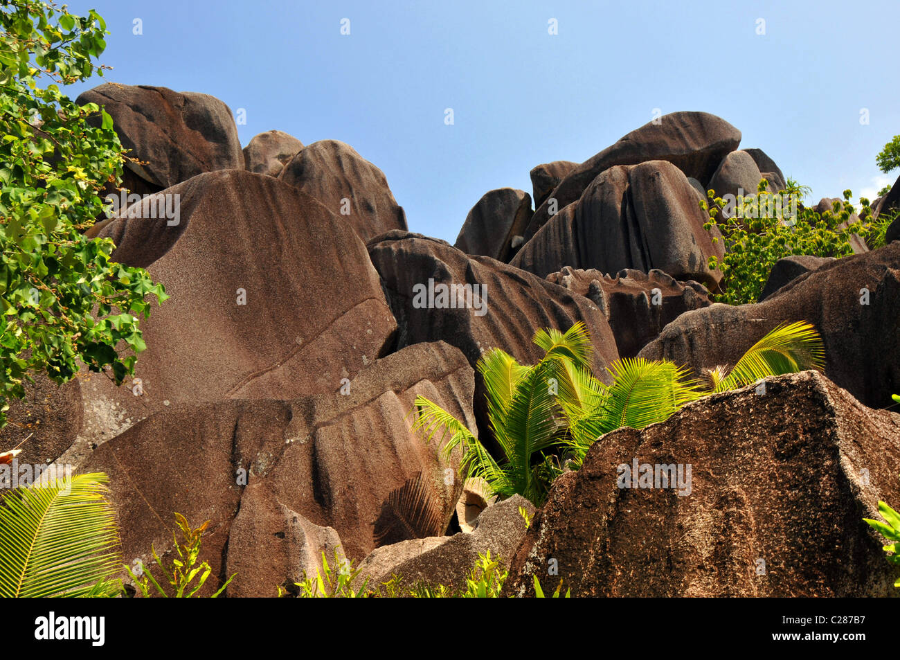 Anse Source dÁrgent famous for the rock formations. La Digue Island Seychelles. - Stock Image