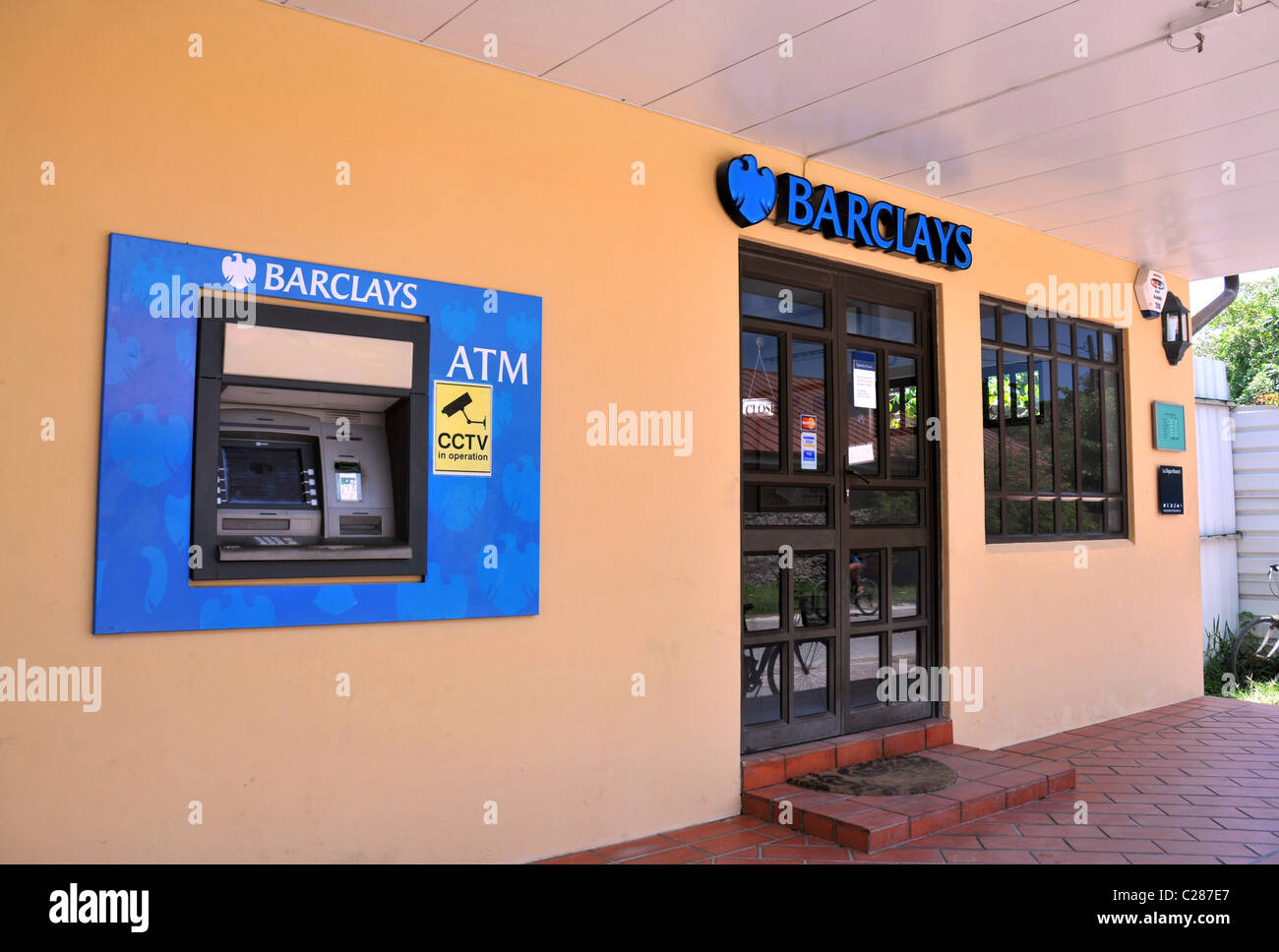 Barclays Bank branch and ATM. La Digue Island Seychelles. - Stock Image