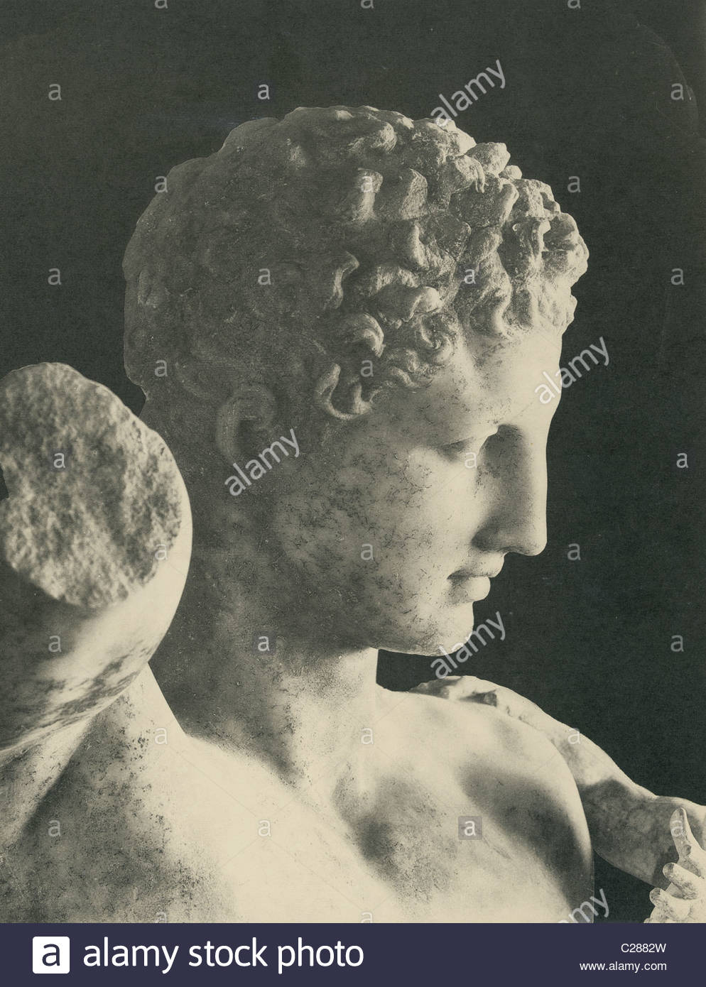 The remains of an ancient Greek sculpture of Hermes of Praxiteles. - Stock Image