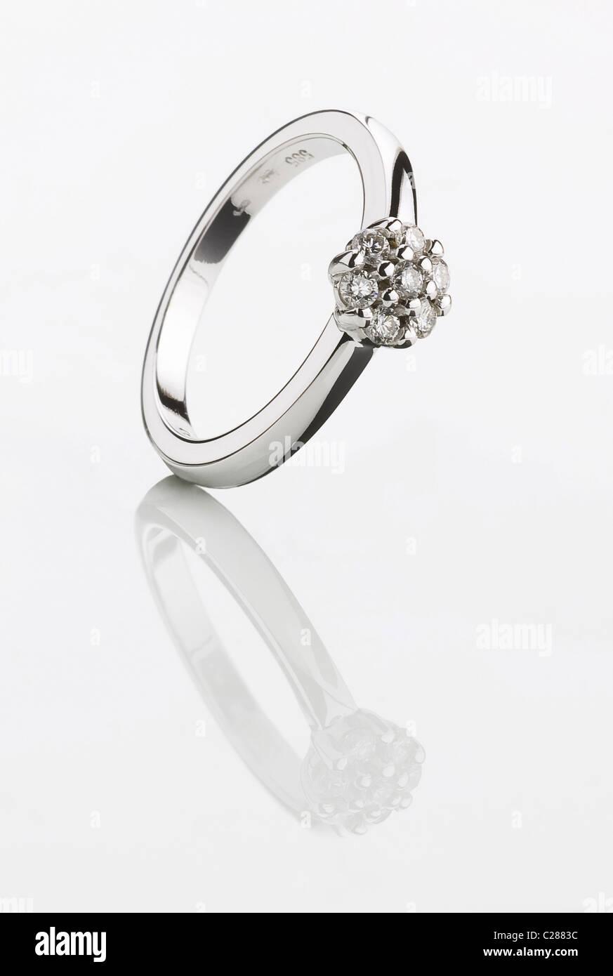 Beautiful silver ring with precious gems - studio - Stock Image