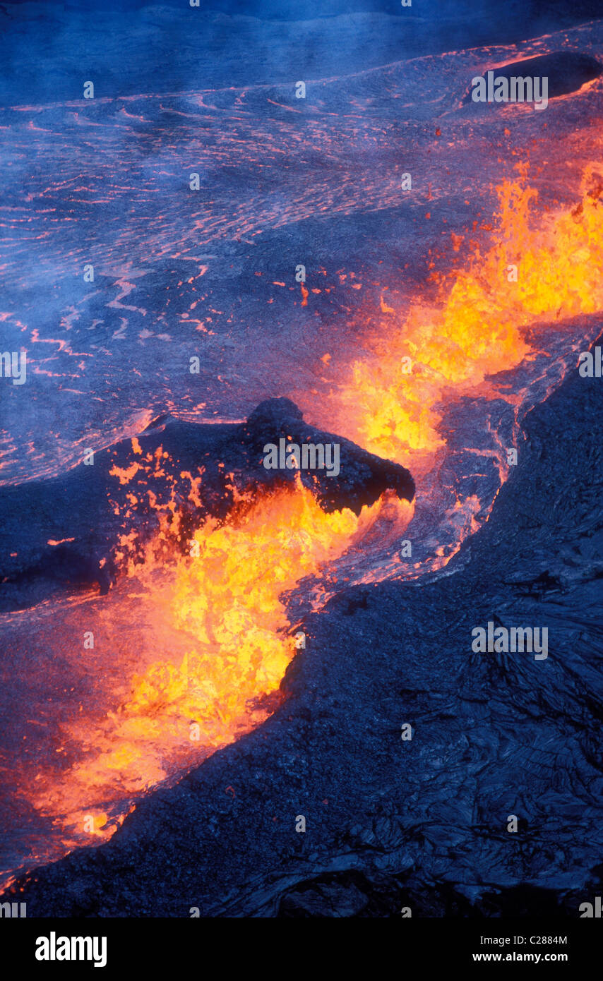 Rift eruption near Pu'u O'o; Hawaii Volcanoes National Park, Island of Hawaii. - Stock Image