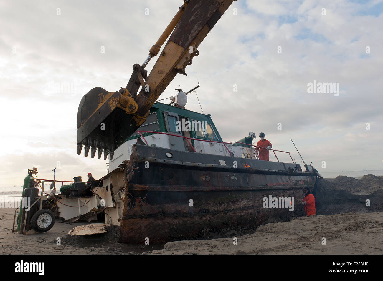 Beached tug boat after a storm, Santa Barbara, East Beach - Stock Image