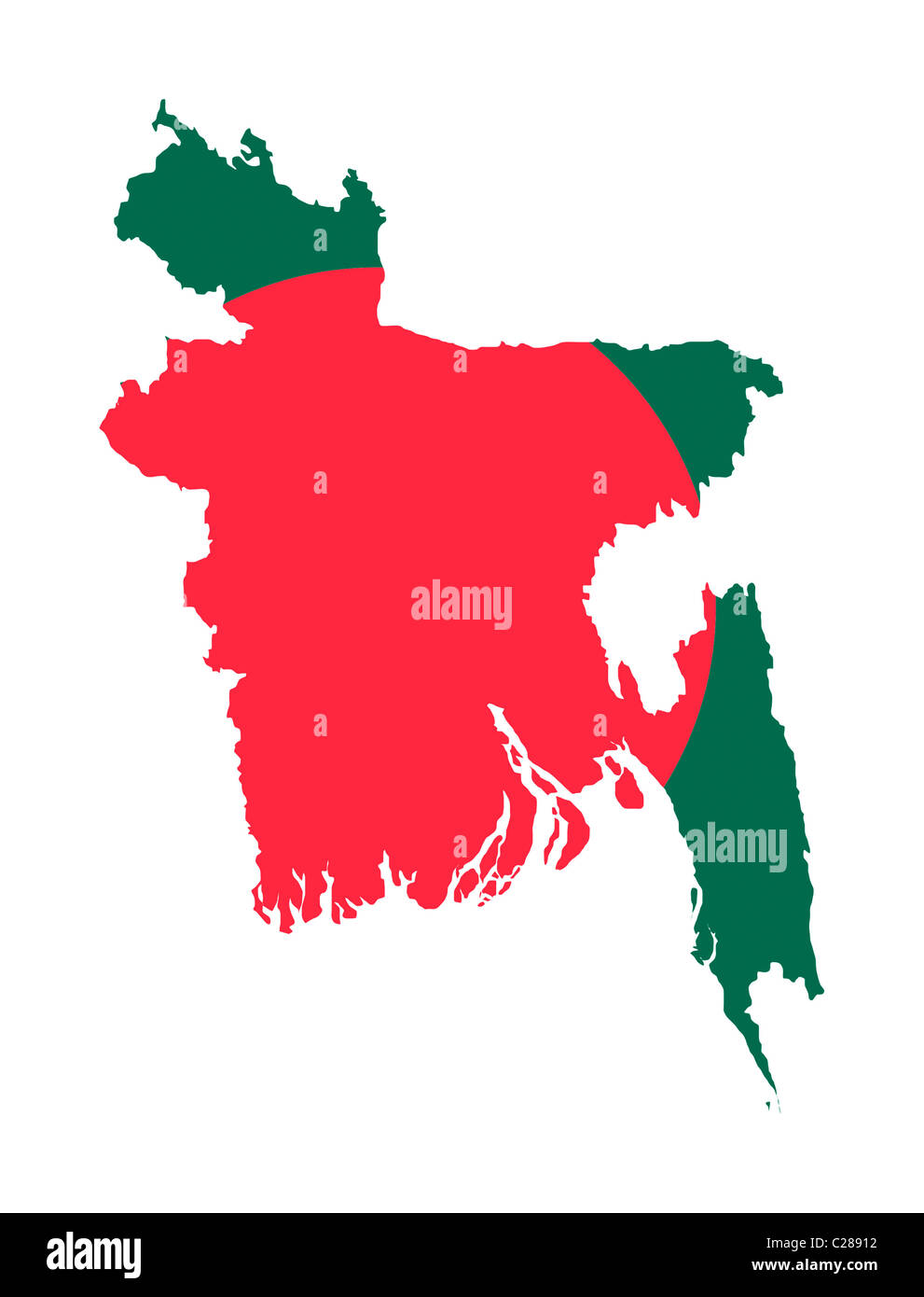 Illustration Of Bangladesh Flag On Map Of Country Isolated