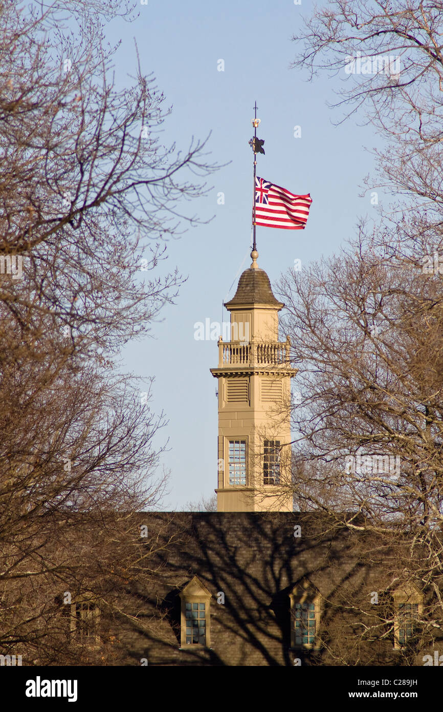 Cupola with a weather vane, lightning rod, and Great Union flag on top of The Colonial Capital building in Williamsburg Stock Photo