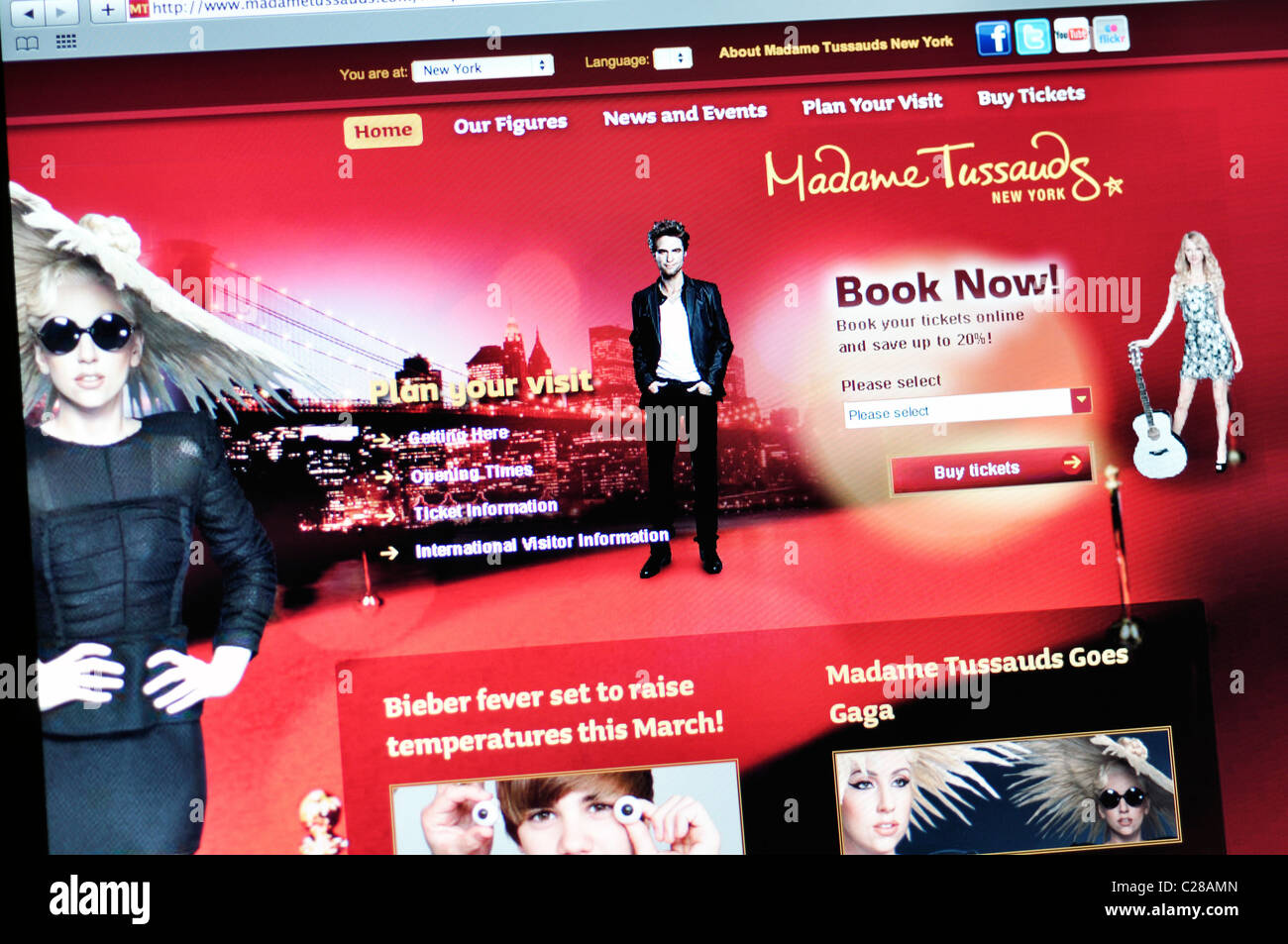 Madame Tussaud's wax museum  website - New York - Stock Image