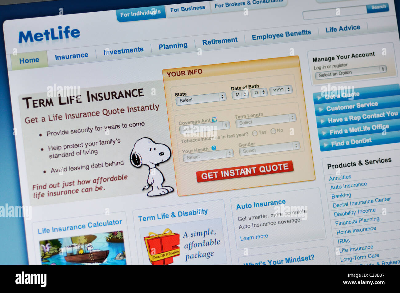 Metlife Website Insurance Quotes Stock Photo Alamy