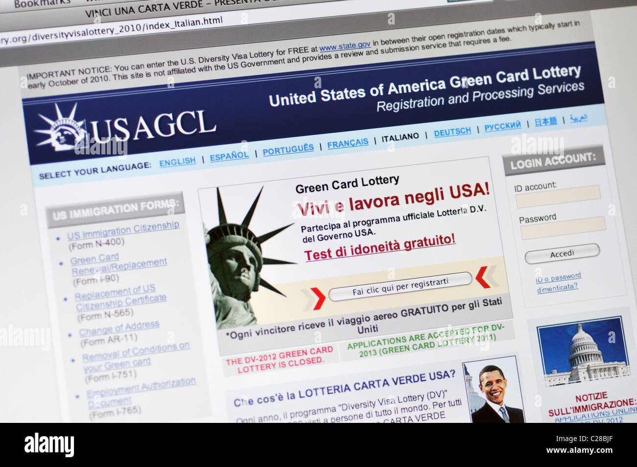 USAGCL website - United States of America Green Card Lottery - in Italian
