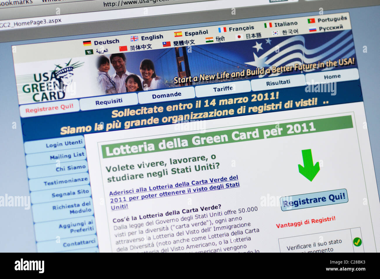 USA Green Card Lottery website - in Italian