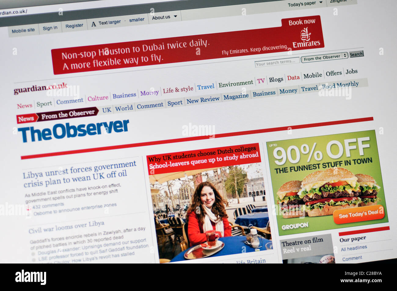 The Observer website - Stock Image