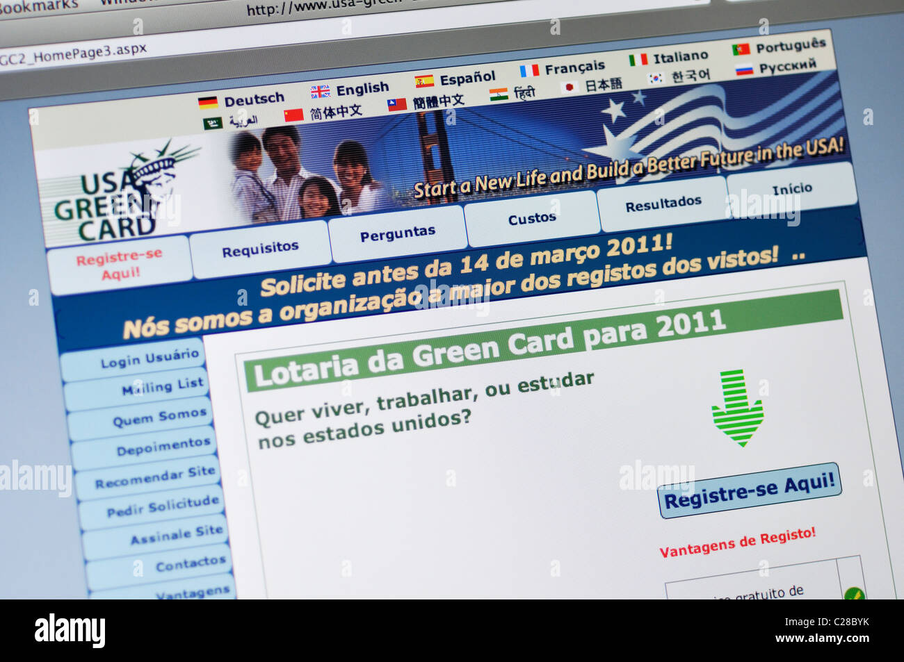 USA Green Card Lottery website - in Portuguese Stock Photo