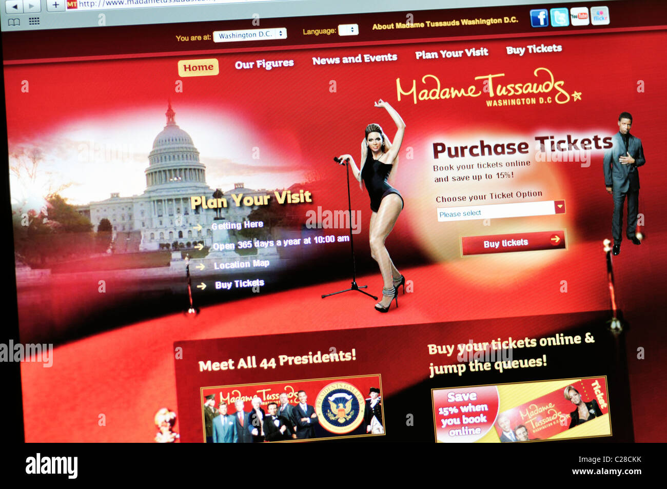 Madame Tussaud's wax museum  website - Washington DC - Stock Image