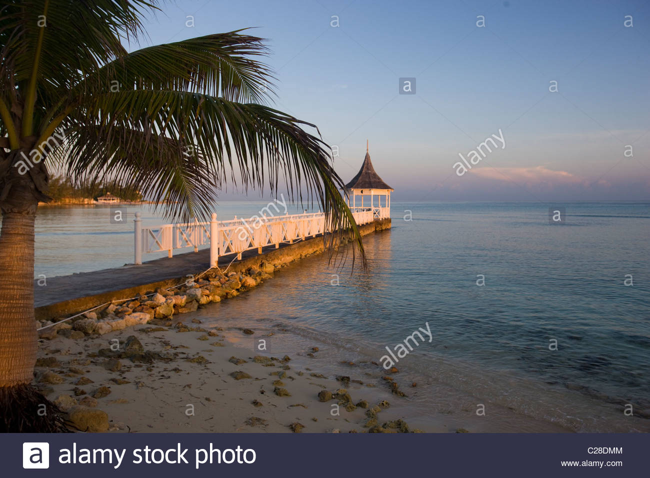 The sea surrounded pavilion in Half Moon Resort. Stock Photo