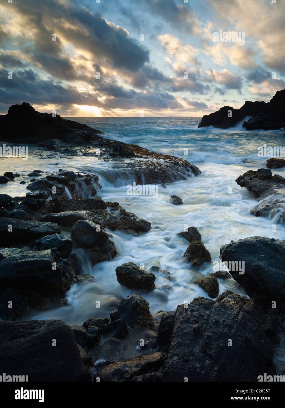 Halona Cove sunrise, Eastern coastline of Oahu, Hawaii - Stock Image