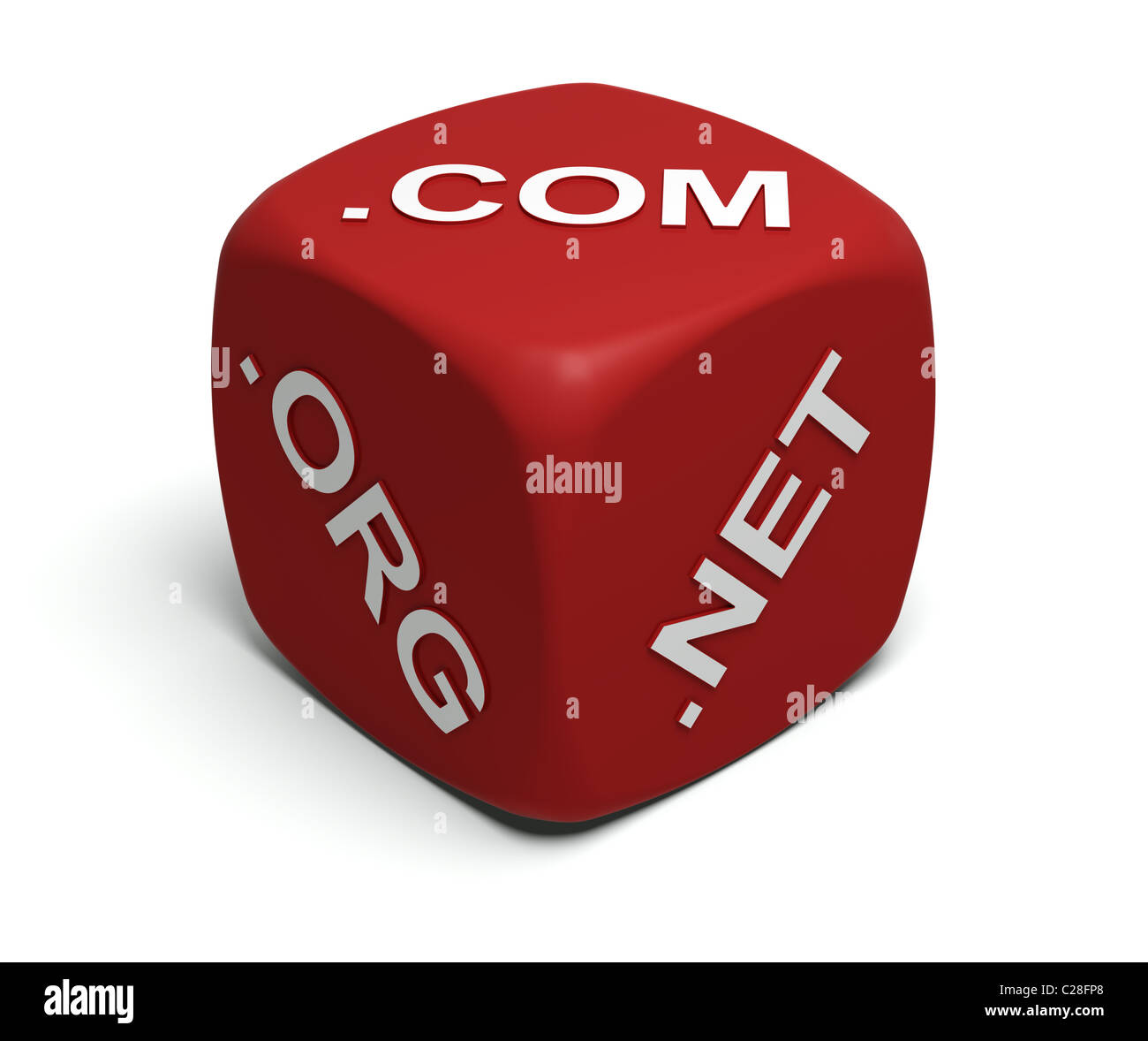 Red Dice with Internet domain names on faces - Stock Image
