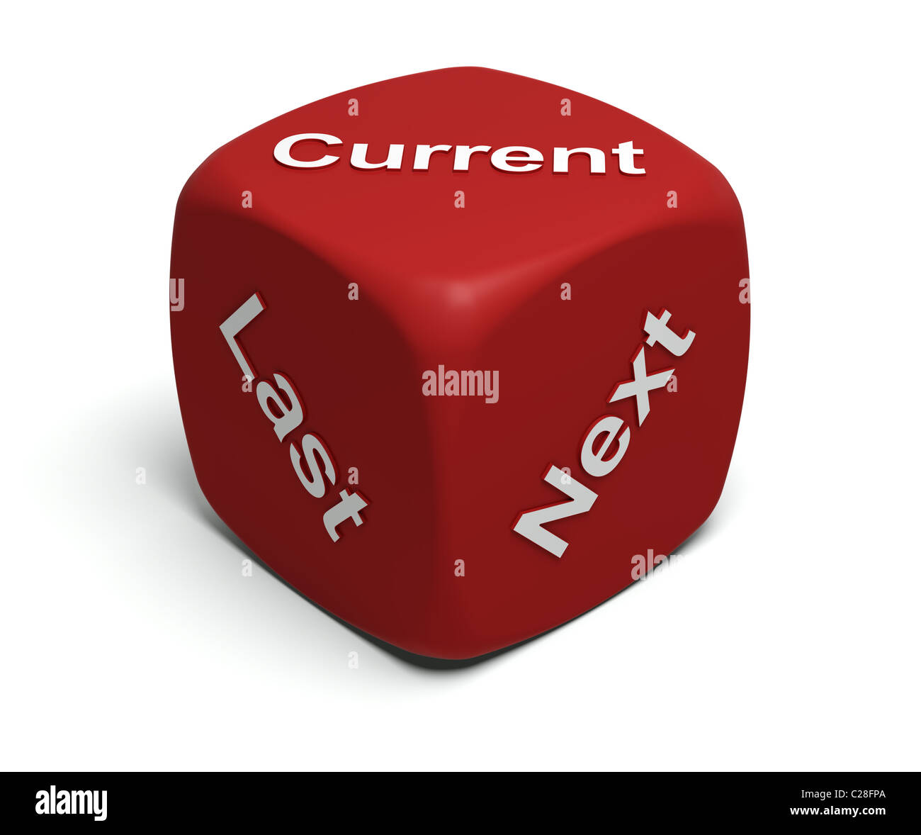 Red Dice with words Current, Last, Next on faces - Stock Image