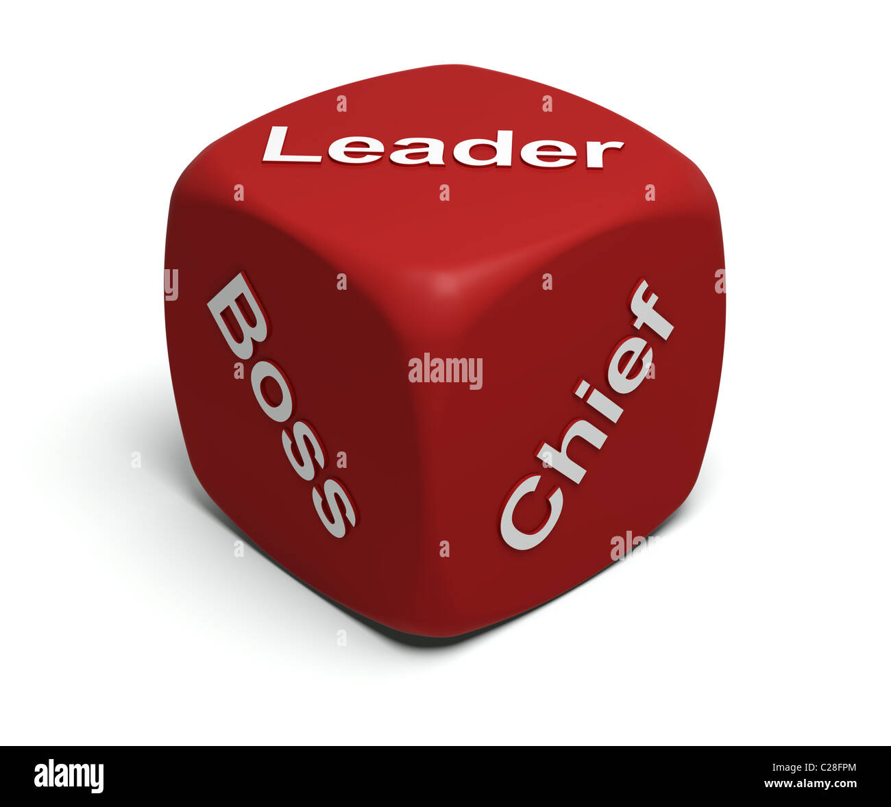 Red Dice with words Boss, Chief, Leader on faces - Stock Image
