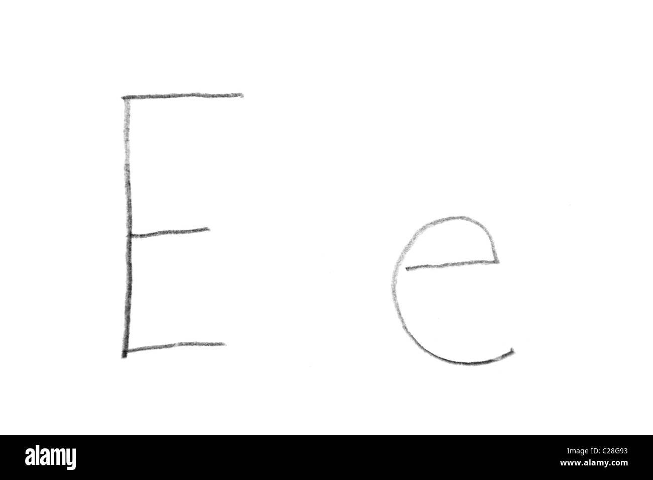 Hand written letter E, both upper and lower case  - Stock Image