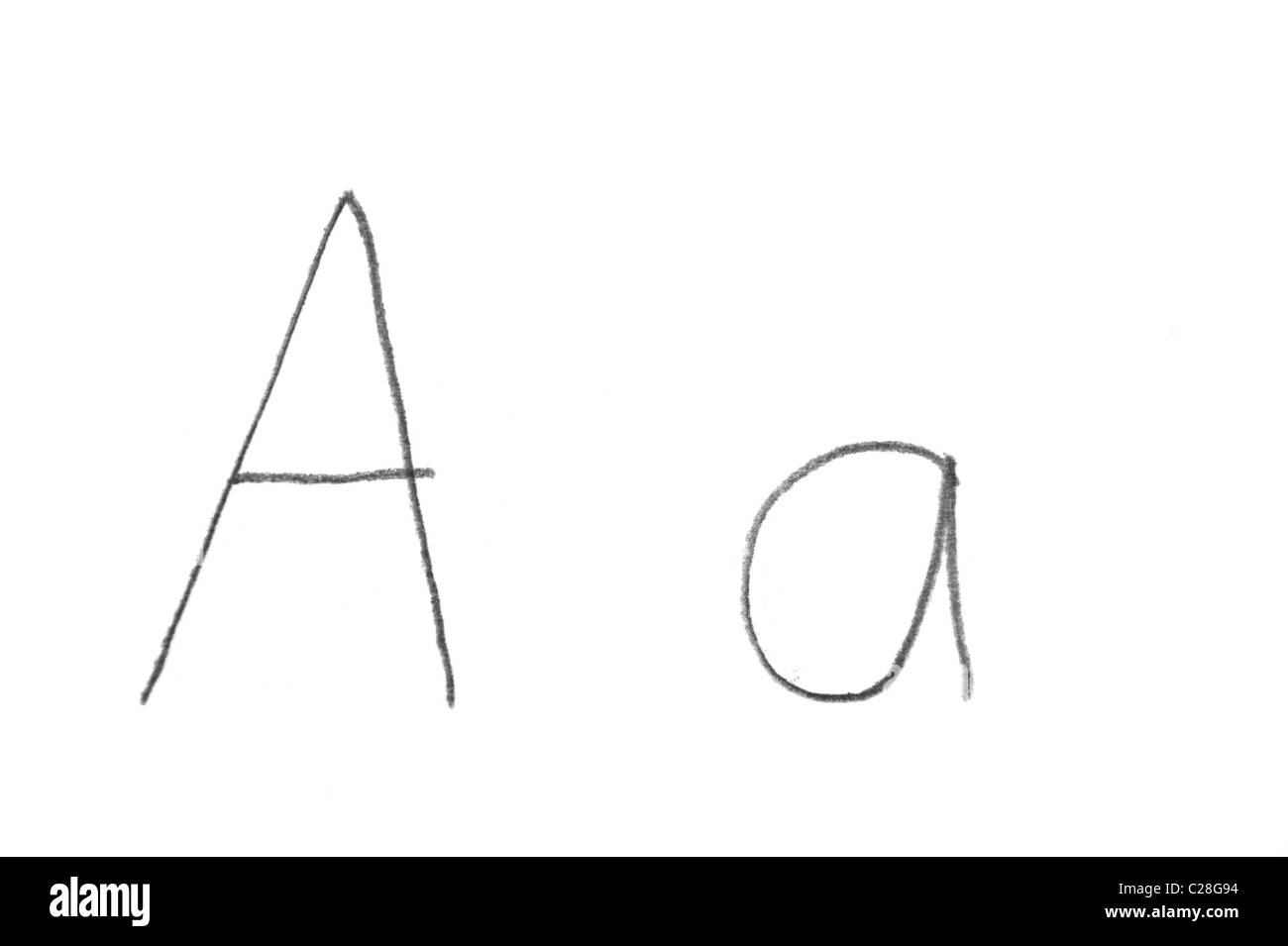 Hand written letter A, both upper and lower case - Stock Image