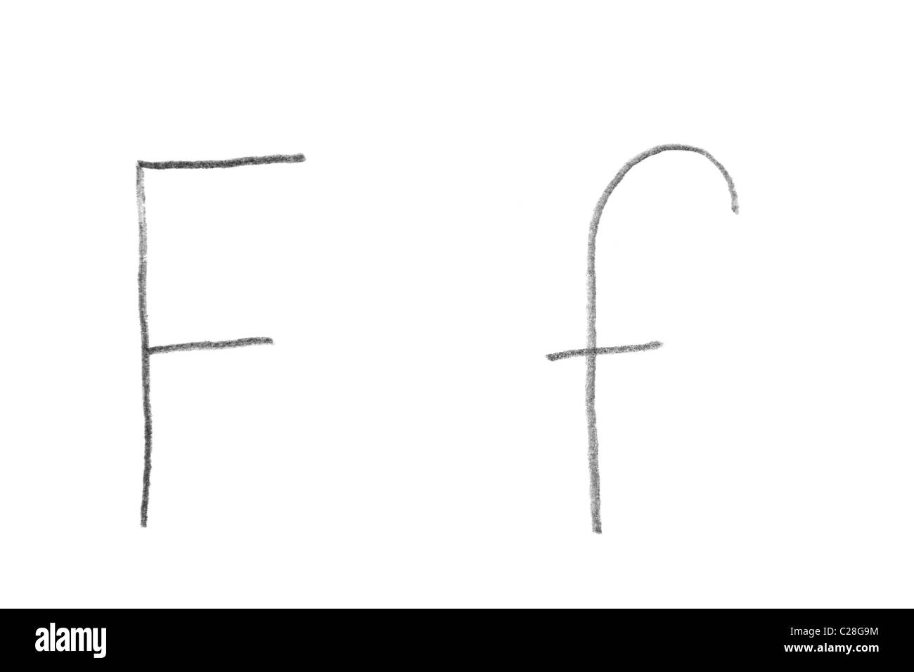 Hand written letter F, both upper and lower case  - Stock Image