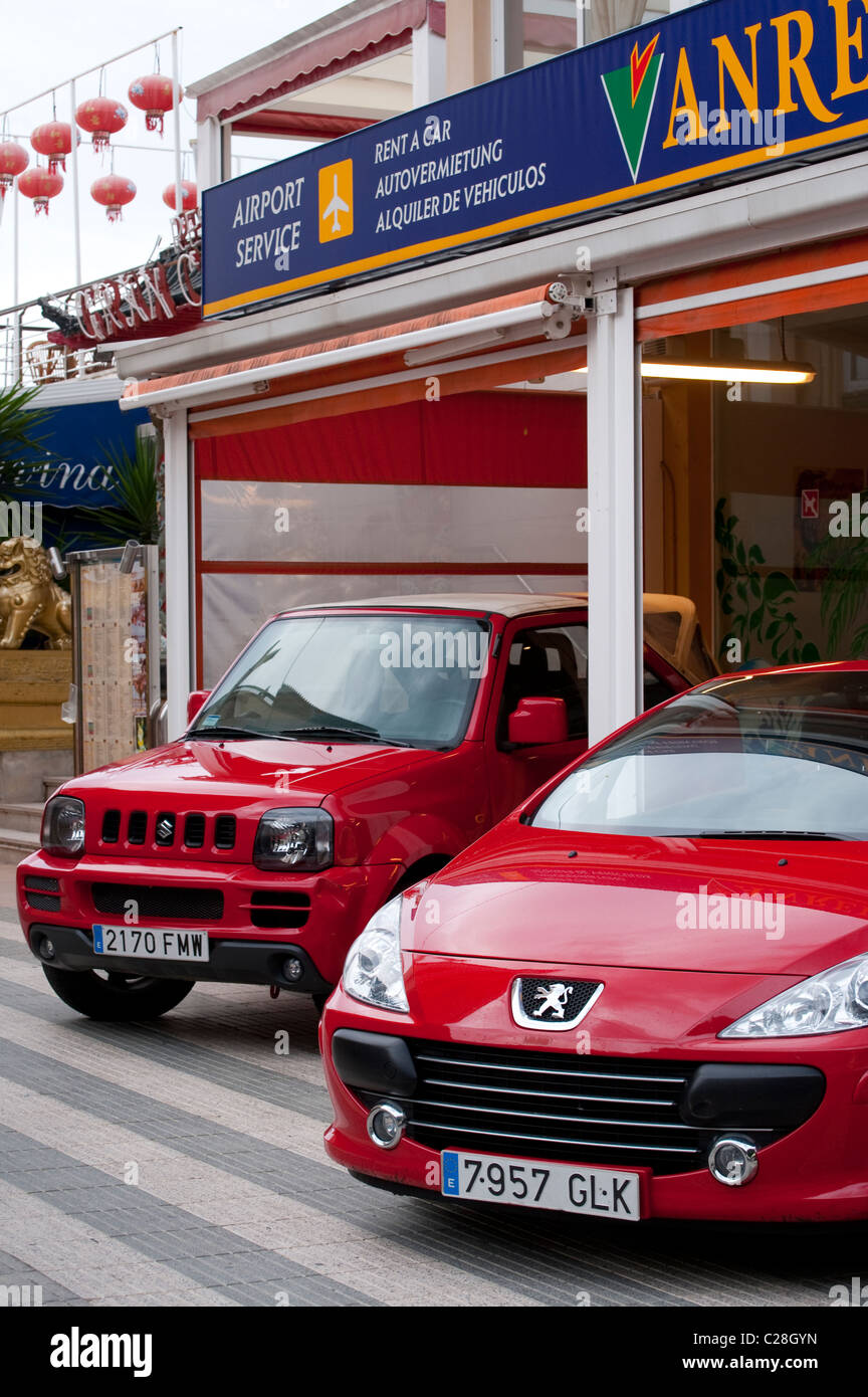 Cars For Hire On A Car Rental Forecourt In Spain.   Stock Image