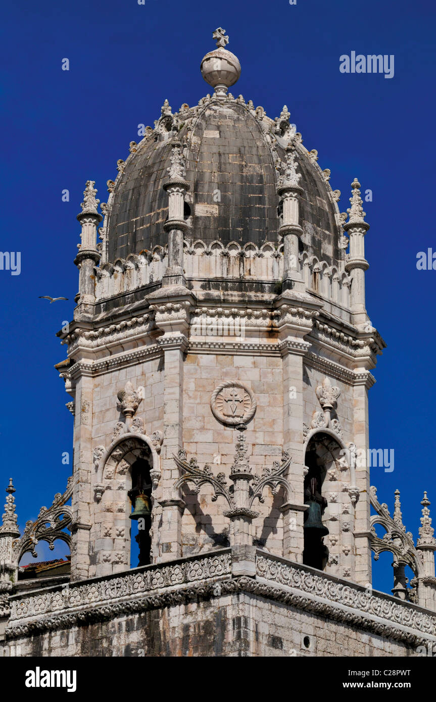 Portugal, Lisbon: Tower of the Monastery of St. Jerome in Belem - Stock Image