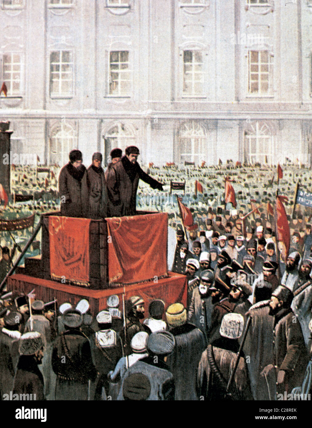 Russian Revolution (1917). Rally by Lenin and Leon Trotsky in St. Petersburg. - Stock Image