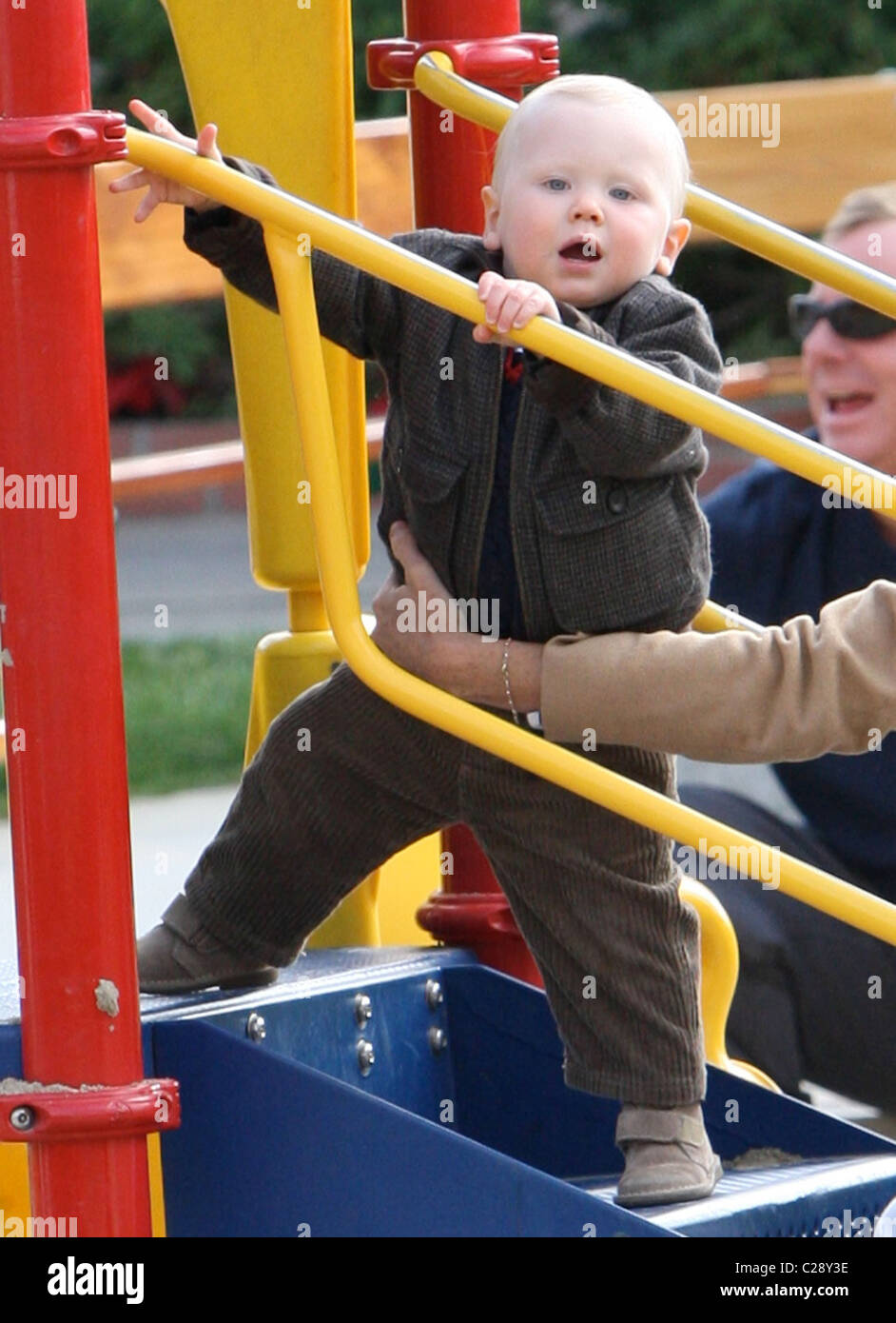 Henry Story Driver Minnie Driver takes her son, Henry Story Driver, to Cross Creek Park in Malibu Los Angeles, California, Stock Photo