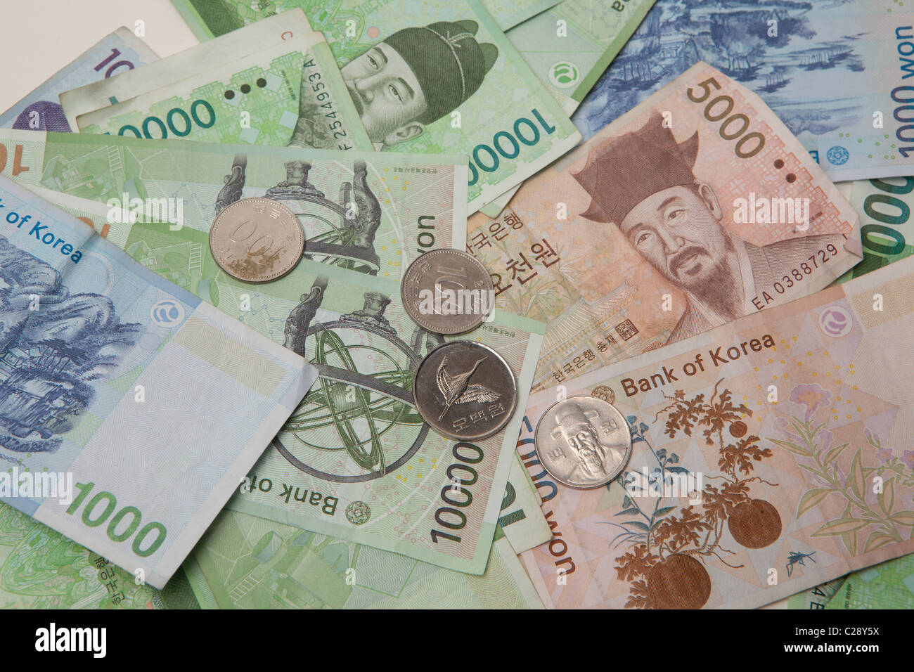 South Korean currency note and coin Won, Korea - Stock Image