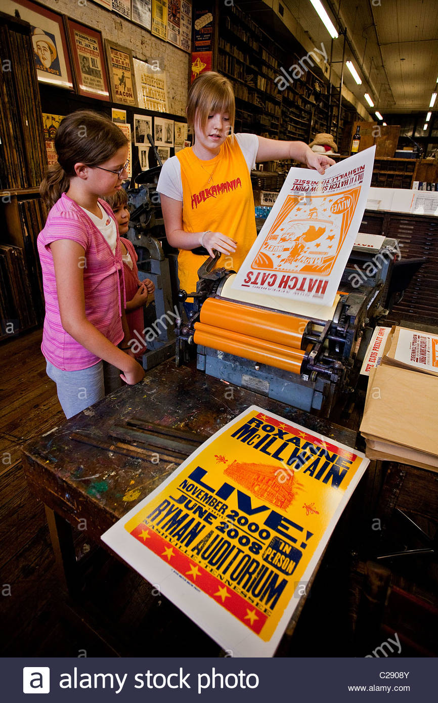 Authentic Grand Ole Opry posters still for sale at Hatch Show Print. - Stock Image