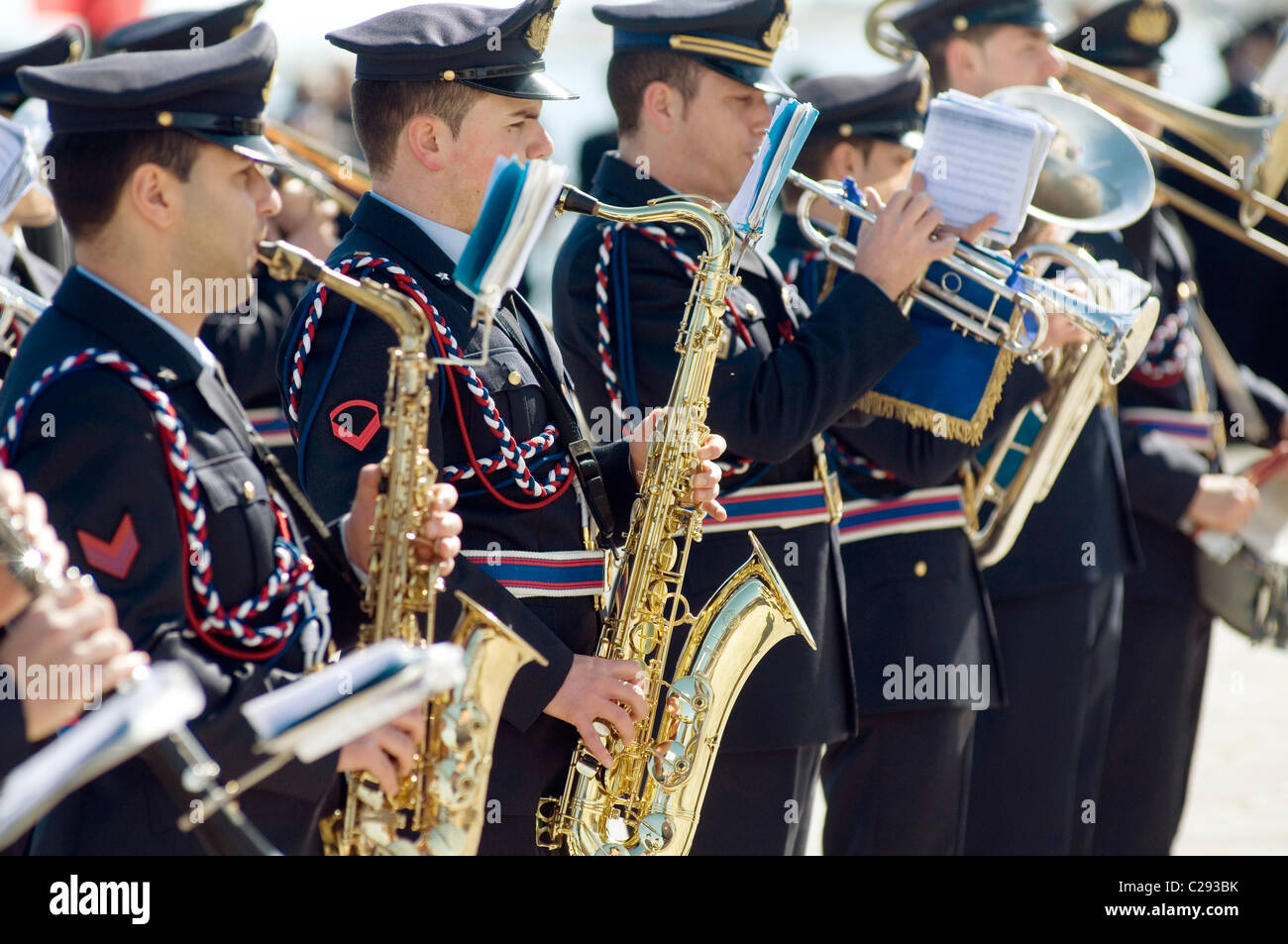 italian armed forces marching band bands musical instruments brass section wind instrument music ceremonial dress - Stock Image