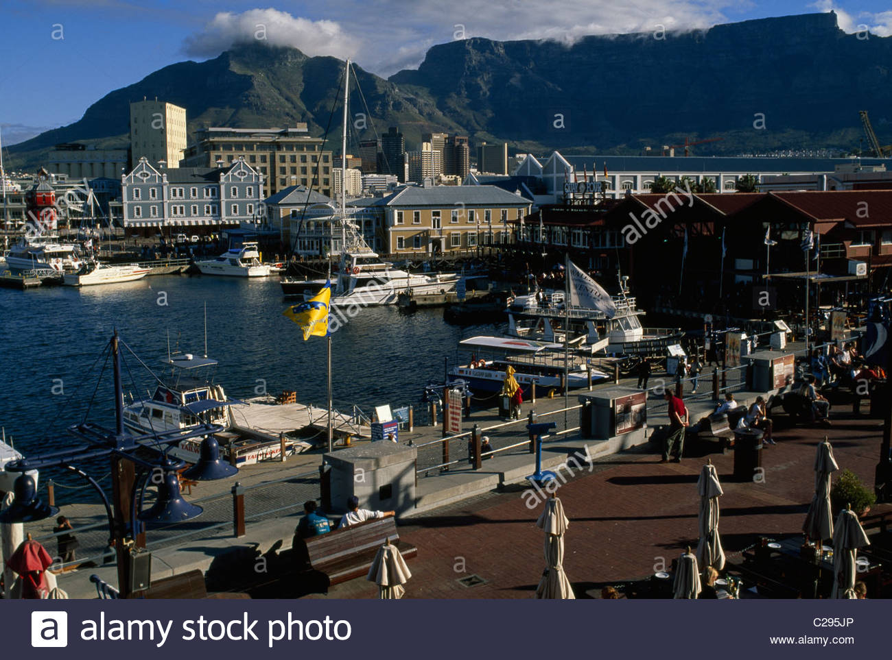 Cape Town's Victoria and Albert waterfront holds a gentrified harbor. - Stock Image