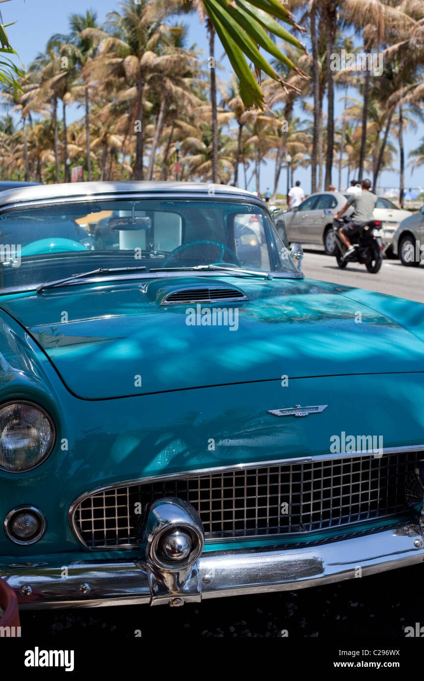 Old car at Ocean Drive , South Beach, Miami Beach, Florida, United States. - Stock Image
