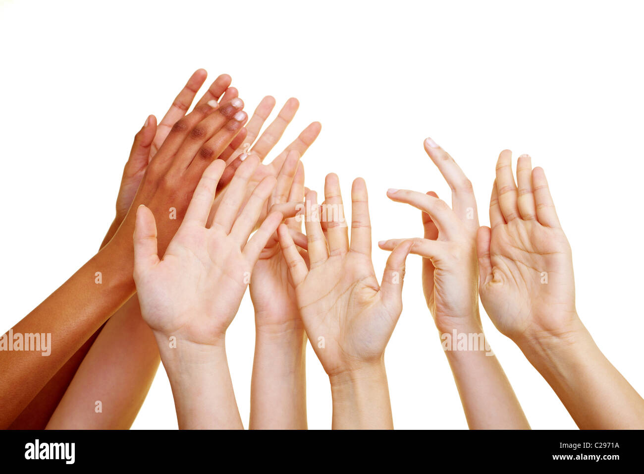 Desperate hands reach up - Stock Image
