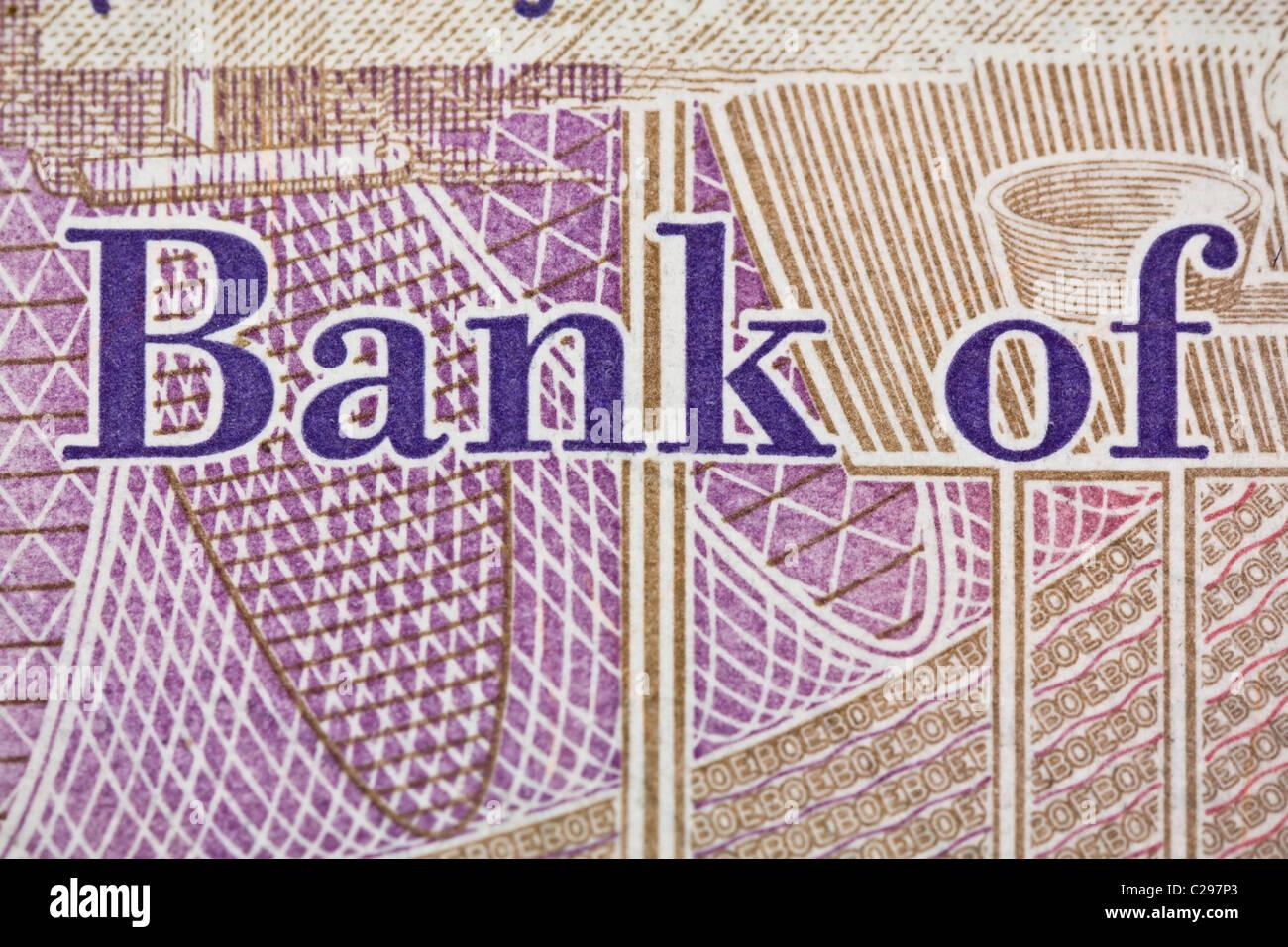 Detail of twenty pound note - Stock Image