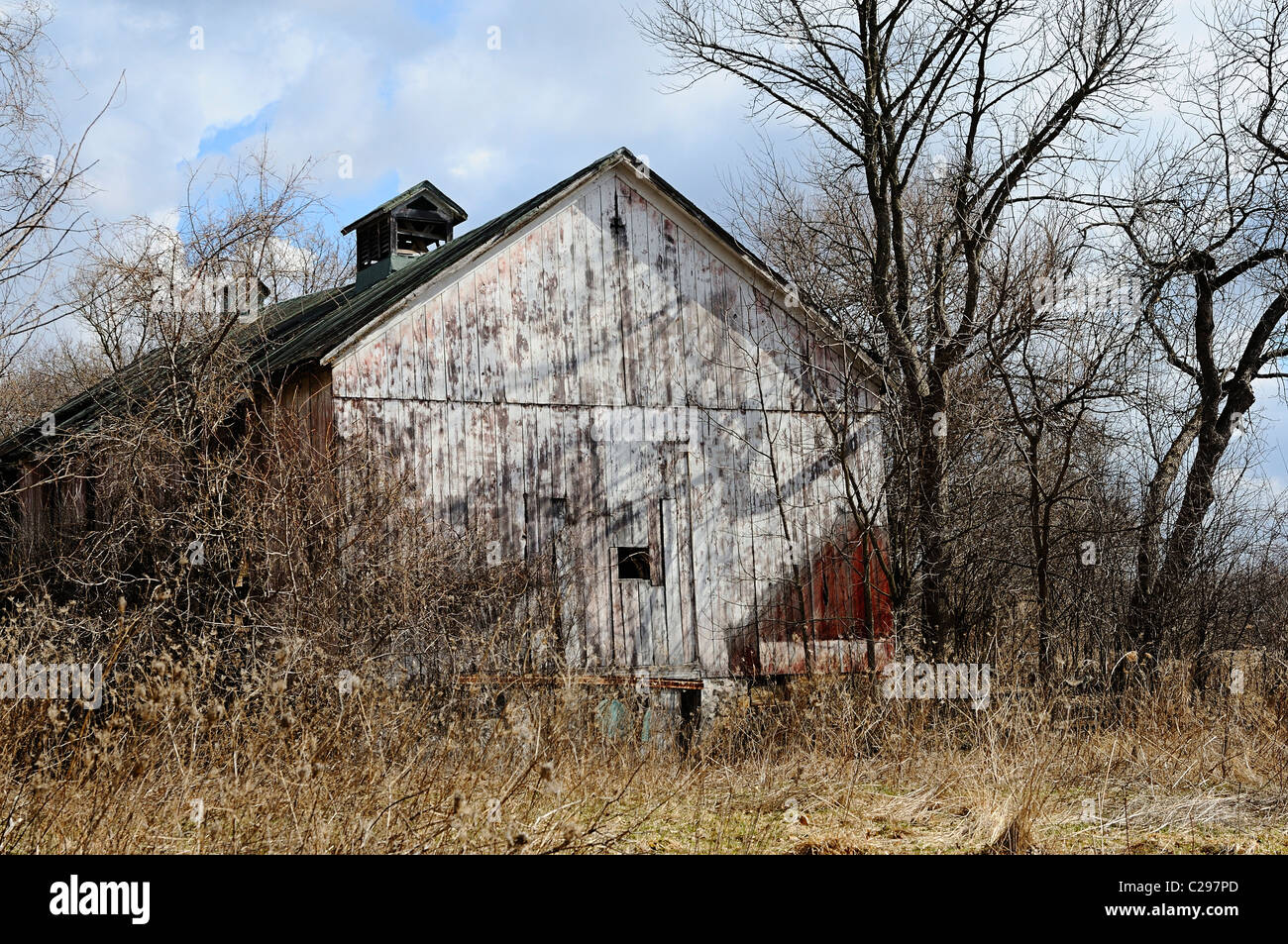 Decaying and neglected barn in Northern Illinois, USA - Stock Image
