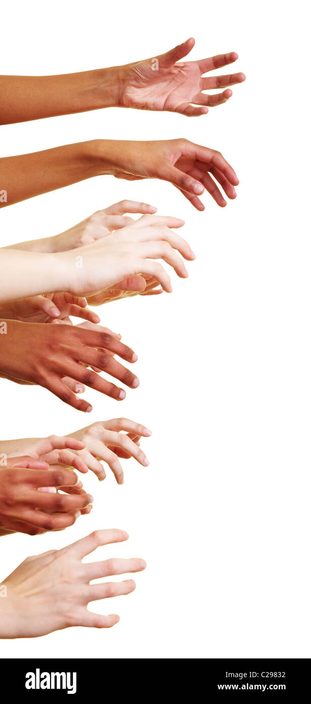 Many hands reach out to the side - Stock Image