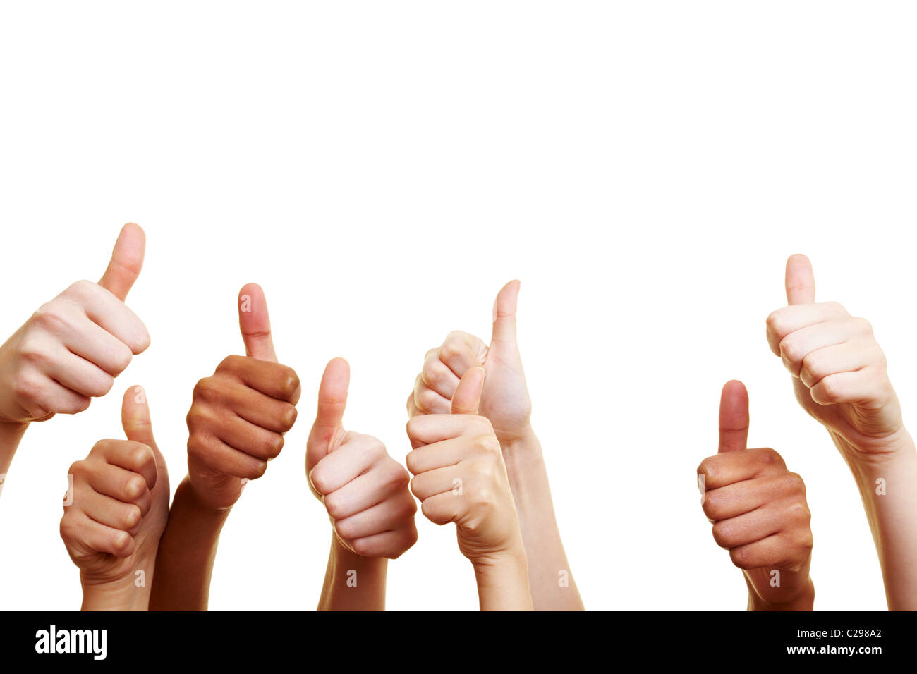 Many thumbs up - Stock Image