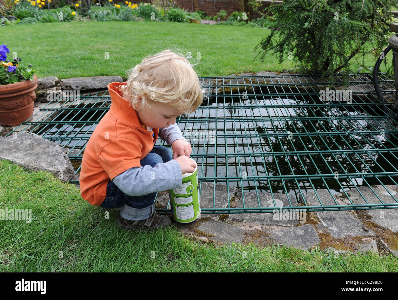 Child Playing By Garden Pond With A Safety Guard Stock
