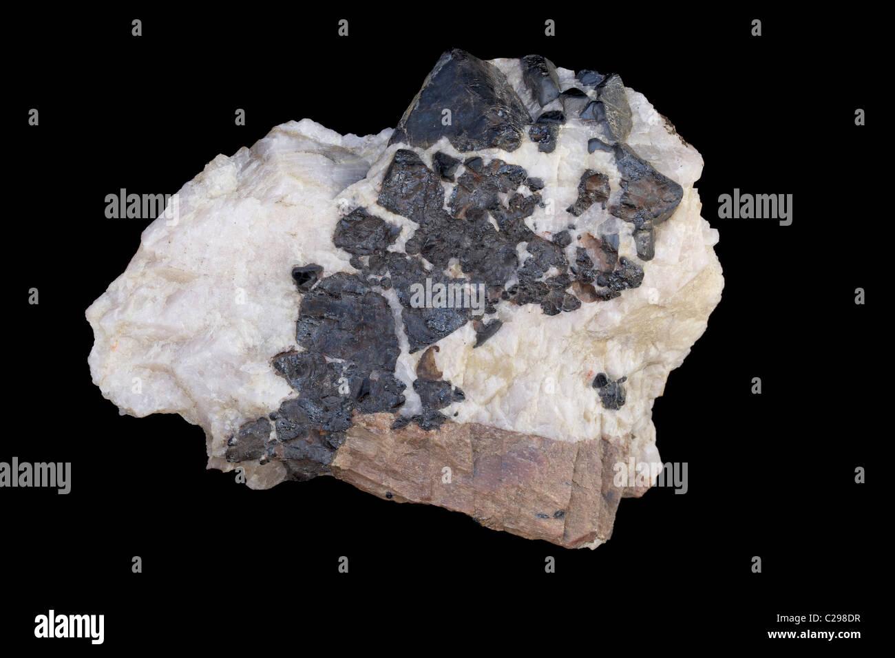 Franklinite - Sterling Hill Mine - Ogdensburg - New Jersey - USA - An ore of zinc - zinc manganese iron oxide - Stock Image