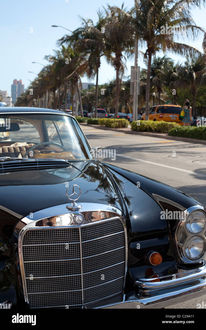 Mercedes Of Miami >> Classic Mercedes Benz Car In The Streets Of Miami Beach Fl Stock